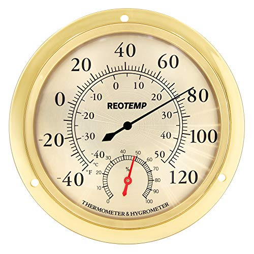 REOTEMP WTH6B Indoor Wall Thermometer Hygrometer, Analog, 5.75  Polished Metal Brass and Glass, Humidity and Temperature Monitor