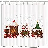 Weihnachtsbadezimmer-Duschvorhänge, Lebkuchenmann-Antriebsstrang mit Weihnachtsgeschenkbaum im schneeweißen Hintergr& Polyestergewebe-Badbadevorhang-Zubehör