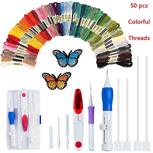 Magic Embroidery Pen Punch Needles, Embroidery Pen Set,Embroidery Patterns Craft Tool Including 50 Color Threads for DIY Sewing Cross Stitching and Knitting Sewing Tool (Colorful)