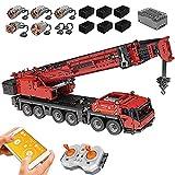 Camión grúa Technic, Mold King 17013, 4460 piezas de camión pesado de control remoto con 5 motores y kit de control Tecnología Lego compatible A