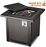 TACKLIFE Gas Fire Pit Table, 2020new Style,28 inch 50,000 BTU, Steel Surface Outdoor Propane Fire Table with Durable Cover, CSA Certification Approval