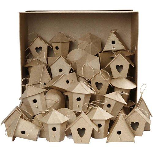 Creativ Mini-Vogelhäuschen aus Pappmaschee, Bulkware, 6 Designs, 60 Stück