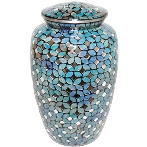 Mosaic Glass Cremation Urn - Hand Made Funeral Urn for Human Ashes - Large Adult Size Burial Urn - Aluminum with hand applies individual tiles create a one of a kind work of art - 200 cu in (Blue)