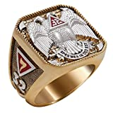 Scottish Rite 32 Degree Masonic Ring 18K Gold Pld Yellow Version 40 Grams Templar Handcrafted BR-5 (9.5)