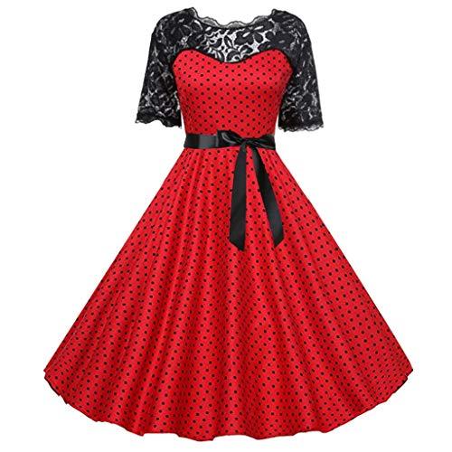 Kleider Damen Elegant 1950er Rockabilly Kleid Spitzenkleider Polka Retro Vintage Petticoat Kleider Faltenrock Piebo Frauen 60er Jahre Hepburn Stil Abendkleider Kurzarm Cocktailkleid Schwingen Dress