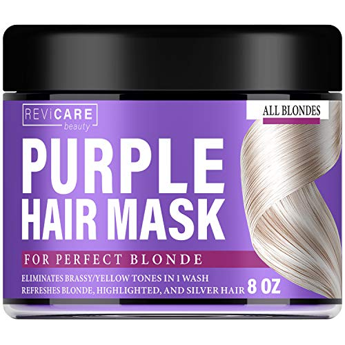 Purple Hair Mask - Hair Toner w/Avocado Oil, Retinol & Silk Protein for Blonde Hair, Ash & Platinum Hair - Made in USA - Greatly Lighten Brassy Hair and Condition Dry Damaged Hair - No Yellow Hues