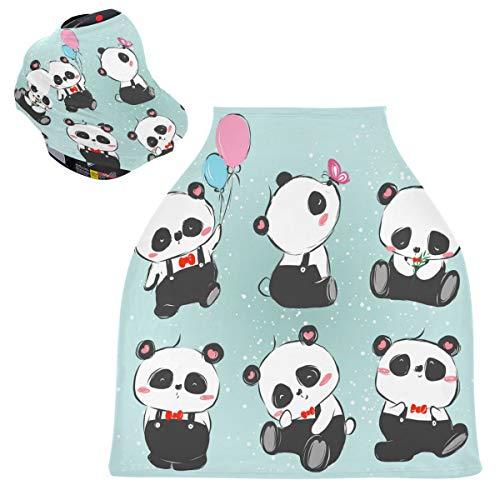 Panda Series Fundas de asiento de coche para bebé – 4 en 1 cubierta de enfermería, toldo multiusos para asiento de coche, para recién nacidos