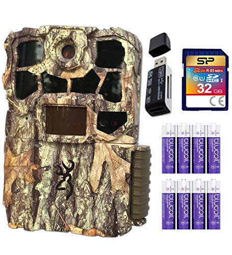 Browning BTC-7E Recon Force Edge 20 MP Trail Camera with Night Vision Motion Activated Bundle with Blucoil 8 AA Batteries, 32GB SDHC Memory Card, and USB 2.0 Card Reader