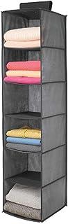 mDesign Estantería colgante de fibra sintética con 6 estantes – Organizador de tela para colgar en el dormitorio – Perfecto como colgador de armario para ropa, cinturones y bolsos – gris y negro