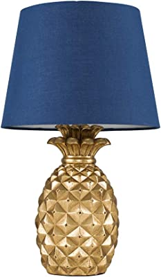 Contemporary Pineapple Design Table Lamp in a Gold Effect Finish with a Navy Blue Tapered Shade - Complete with a 4w LED Golfball Bulb [3000K Warm White]