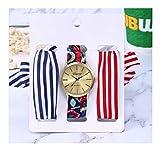 Traje 3pcs / Set Vestido de la señora Vacaciones de Oro Rosa de Plata del Reloj de Reloj de los Relojes de la Cinta for la Mujer (Color : 6)