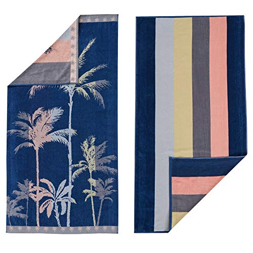 100% Cotton 2-Pack Beach Towel. Soft Absorbent Quick Dry Towel Set. Playa Collection. (30' x 60', Palm Trees / Stripe)