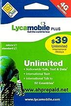 Lycamobile $39 plan Prepaid sim card in 30 days plan