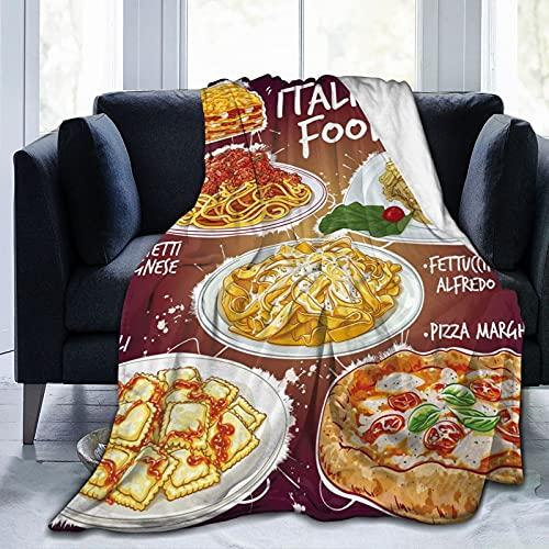 QUEMIN Cocina Italiana Mantas de Tiro Mantas de Lana de Franela Personalizadas para cumpleaños Familiar Regalo de Boda Se Adapta a sofá Sofá Dormitorio Sala de Estar 150 x 200 cm