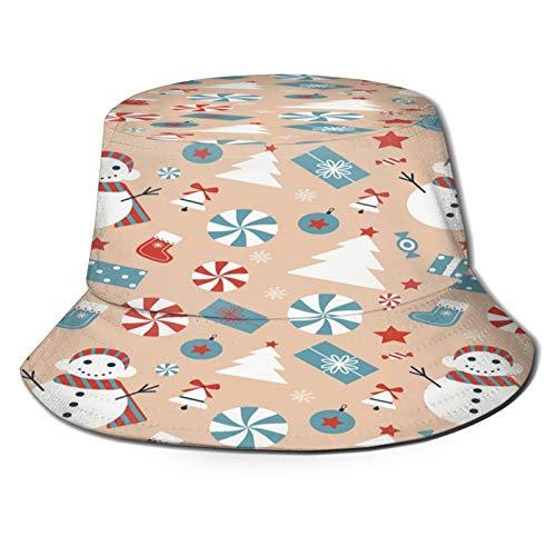 PUIO Angelhut Fischerhut,Nahtloses Weihnachtsmuster mit Schneemann-Weihnachtsbaum-Bonbon-Geschenkstrumpf,Bonie Safari Sonnenhüte zum Wandern im Freien für Männer und Frauen