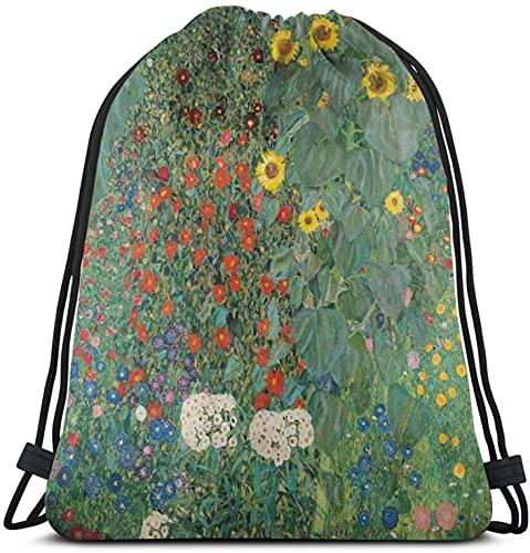 XCNGG Klimt Golden Tears Mochila con cordón Paquete de saco de gimnasio Paquete de cincha sólido Saco de sinch Bolsa de deporte con bolsillo Bolsa de playa Regalo para hombres Mujeres