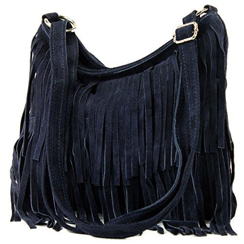 modamoda de - ital bandolera con flecos de gamuza T125, Color:azul oscuro