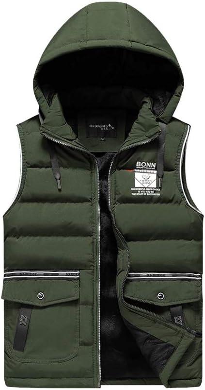FHK Winter Vest, Cotton Vest Men and Women Autumn and Winter Stand Collar Thick Cotton Vest Warm Vest Workwear Jacket (Color : Green, Size : 4XL)
