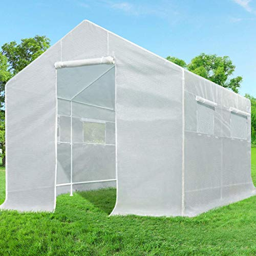Quictent 10x9x8 ft Portable Tunnel Greenhouse for Outdoors 2 Doors Large Walk-in Garden Plant Greenhouse with 12 Stakes