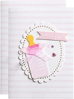 Baby Girls Shower Blank Invitations with Envelopes Cute Feeding Bottle Invite Cards 25 Pack