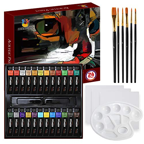 Mancola - Set di 34 pezzi di pittura acrilica professionale, include 24 colori acrilici, 6 pennelli da pittura, tela, tavolozza, pad acrilico, per artisti, studenti e bambini