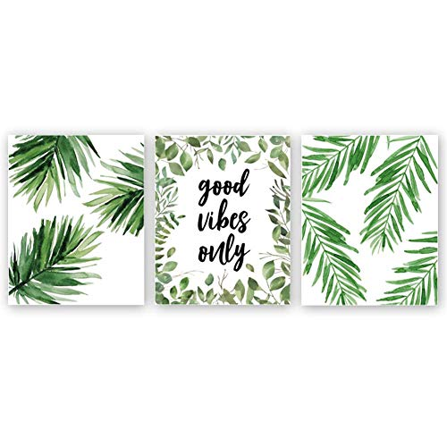 Good Vibes Only Quote Inspirational Art Print, Natural Plant Green Leaf Canvas Art Painting,Set Of 3(8''x10''),Yoga Studio Motivational Home Wall Decor