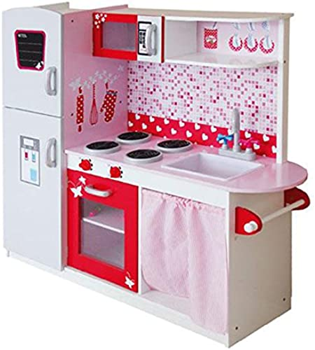 Lean Toys Spielküche aus Holz Kühlschrank