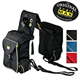 TrailMax 500 Series Insulated & Padded Back Pocket Saddlebags for Horse Trail Riding, 1680-denier Ripstop Nylon Outer Shell with PVC Water Resistant Coating, Black & Sand