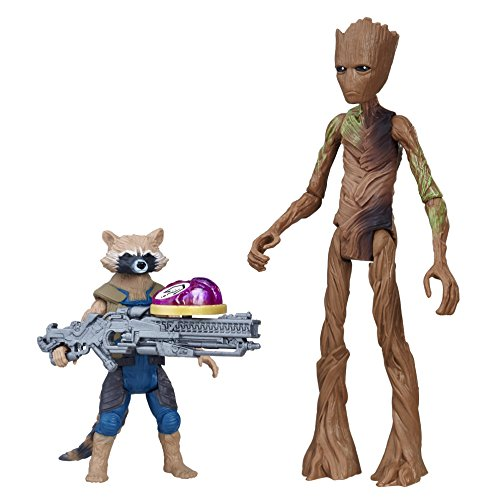 Avengers Infinity War Rocket Raccoon & Groot Figur bewegliche Spiel und Aktionfigur mit Infintiy Stone