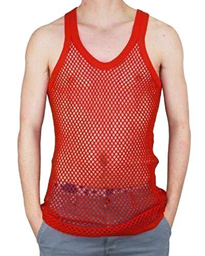 TrendyFashion Homme sans Manche Corde Coton Muscle RÉSILLE Maille Gilet Haut Filet - Rouge, X-Large
