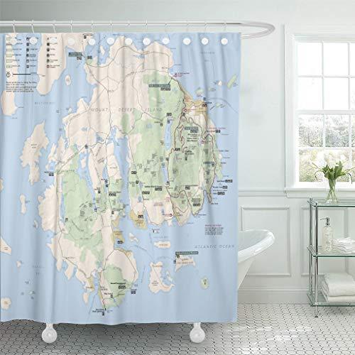 Semtomn Shower Curtain National Acadia Map Park Bar Harbor Island Maine Mount 72'x72' Home Decor Waterproof Bath Bathroom Curtains Set with Hooks