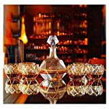 Decantador de whisky Decantador de vinos de 7 piezas Set Crystal Whisky Decanter Gold Crystal Glass Retro Botella de vino extranjero Botella de vino tinto Copa de vino Conjunto para regalo de casa (Co