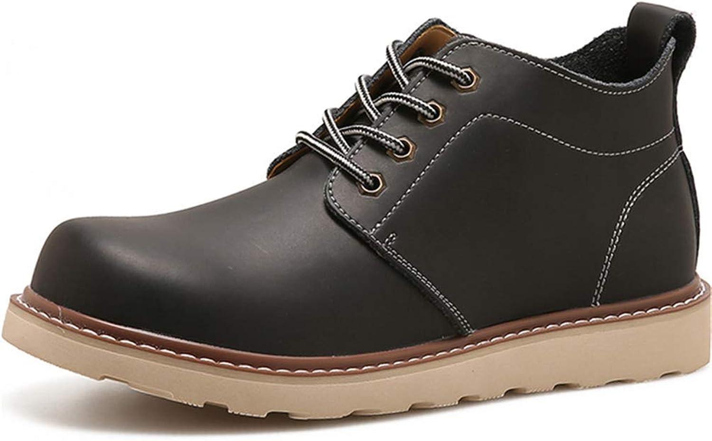 ZHRUI Men Martin Boots Outdoor Leather Wear-Resistant Non-Slip Hand Make Flats Men Casual shoes (color   Black, Size   7=41 EU)