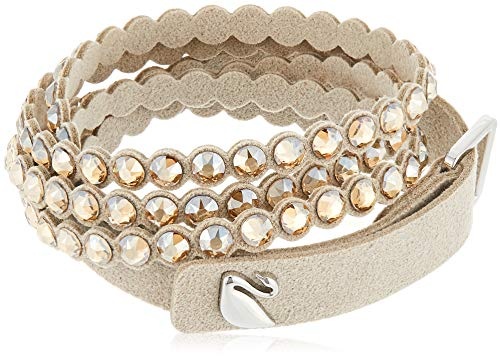 Swarovski Power Women's Slake Wrap Bracelet with Leather Band and Gold-Tone Crystals with Buckle Closure