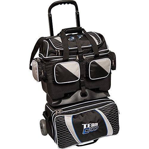 Columbia 300 Columbia Team Columbia 4 Ball Roller Bowling Bag, Black/Silver