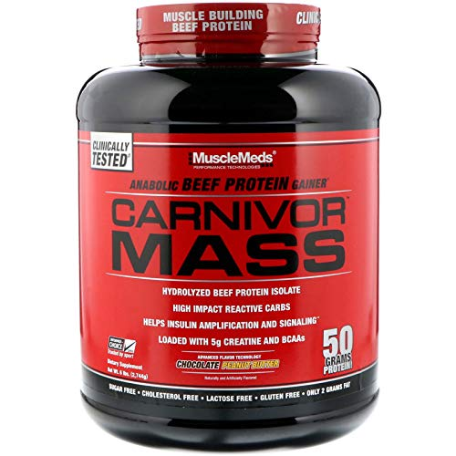 MuscleMeds Carnivor Mass Anabolic Beef Protein Gainer, Chocolate Peanut Butter, 6 Pounds