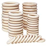 Koytoy Holzring 50 Stück Holzringe zum Basteln Natürliche Holz Ringe für DIY Schmuckherstellung Makramee Handwerk Anhänger Hängende Dekoration Ring