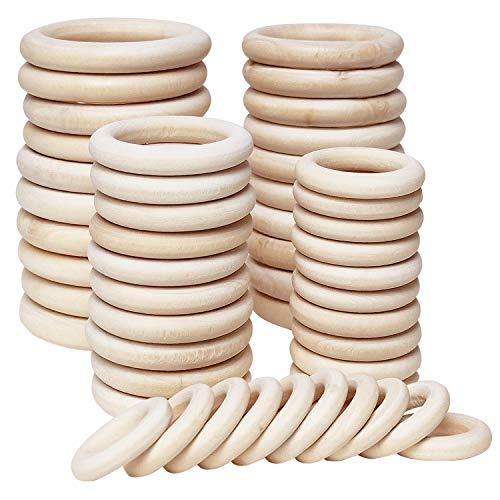 Koytoy 50 Stück Holzring Natürlich Holz Ringe Holzringe zum Basteln für DIY Schmuckherstellung Gardinenringe Makramee Handwerk Anhänger Hängende Dekoration Ring 30/40/55/60/70mm