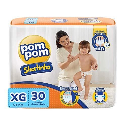 Fralda Calça PomPom Shortinho, XG, Jumbo, pacote de 30