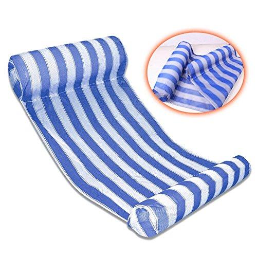 AUSUKY Flotador para tumbonas de piscina, hamaca de agua gigante inflable balsa flotante al aire libre a rayas de juguete para adultos niños silla flotante compacta portátil con bomba pequeña