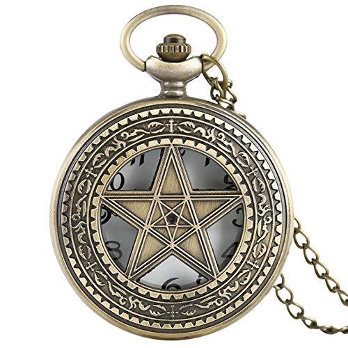 XVCHQIN Vintage Halskette Pentagramm Pentacle Pagan Gothic Zinn Quarz Taschenuhr Männer Frauen Kinder Geschenk Stilvolle Anhänger, Bronze