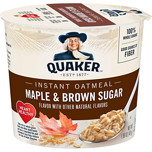 Quaker Instant Oatmeal Express Cups, Maple Brown Sugar, Breakfast Cereal,...