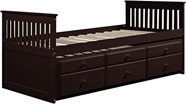 Storage Twin Daybed with Trundle and 3 Storage Drawers Platform Bed Frame with Headboard Footboard Kids Bed (Dark Espresso)