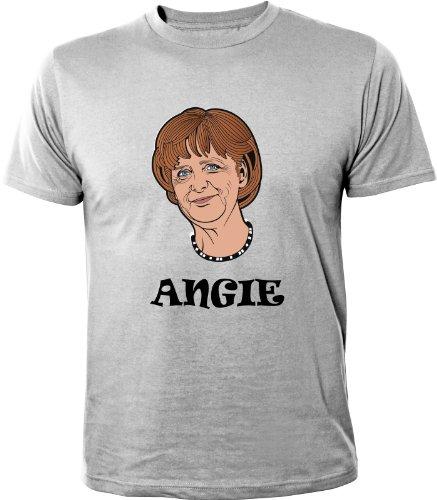 Mister Merchandise Cooles Herren T-Shirt Angela Merkel Angie, Größe: XXL, Farbe: Grau
