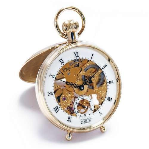 Bernex (Haute Swiss Made Skelett Gold Teller Open Face Schreibtisch Uhr/Taschenuhr