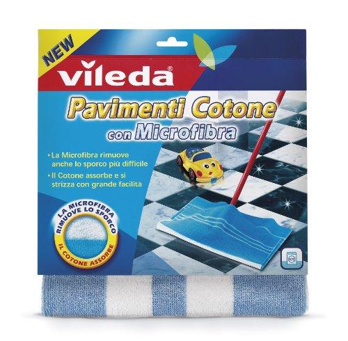 Vileda Panno Pavimenti Cotone con Microfibra, con Cotone Assorbente, per Ogni Tipo di Pavimento, Lavabile in Lavatrice, 50 x 50 cm
