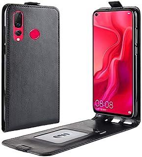Mrsiy1128 Huawei社の新星4、垂直フリップスタイル耐久性のあるクレイジーホースパターンフリップPUレザーウォレットケースカバーのためのフリップケース (色 : ブラック)