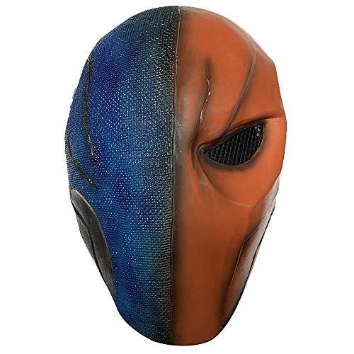Deathstroke Latex Mask Arkham City Superhero for Halloween Cosplay Props (B) Blue