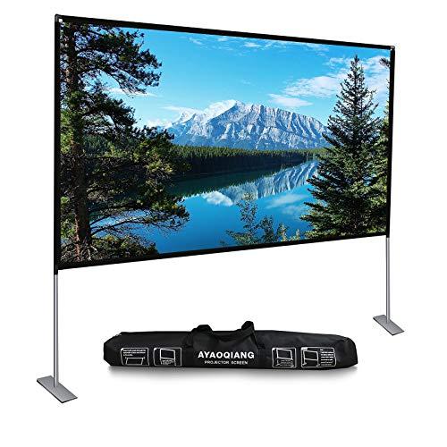 Beamer Leinwand mit Faltbarem Stand, Projektor Leinwand 100 Zoll HD 4K Outdoor Indoor Tragbare Filmleinwand 16: 9 für Heimkino, Camping und Freizeitveranstaltungen.