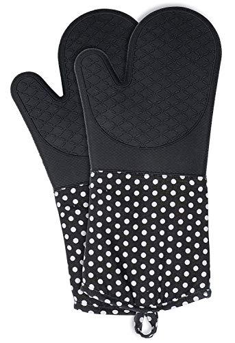 Wenko Topfhandschuhe mit Handflächen aus Silikon, 1 Paar, praktischer Küchenhelfer, auch als Grillhandschuh verwendbar, hitzebeständig, 18,5 x 37,5 cm, schwarz